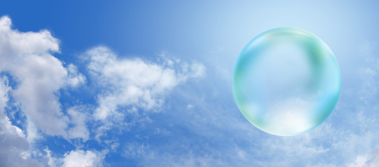 Solar Green Bubble on blue sky banner