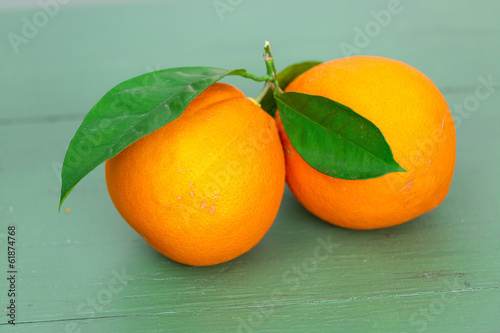 Two big Oranges with Leaves