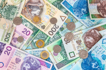 Background of polish banknotes and coins