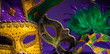 Assorted Mardi Gras or Carnivale mask on a purple background