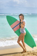 Surfer girl walking with surfboard on beach