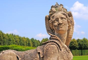 antique stone sculpture of sphinx figure, dresden