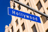 Blue Hollywood Street sign