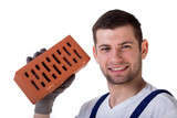 Man holding brick