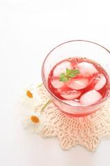 iced cherry tea with flower