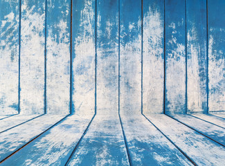 blue texture of rough wooden fence boards background