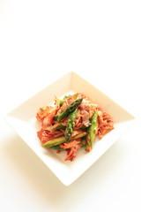Korean food, Kimchi and pork stir fried with asparagus