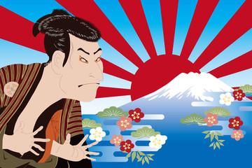 東洲斎写楽 大谷鬼次と富士山のイメージイラスト