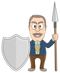 businessman holding shield and pike as a guardian