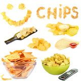 Collage of  tasty potato chips isolated on white