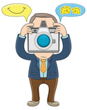 Businessman take a picture using a camera