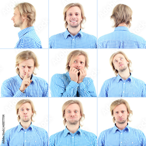 Collage of handsome emotional man isolated on white
