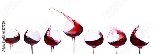 Leinwandbild Motiv Red wine isolated on white