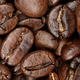 Texture background coffee beans closeup