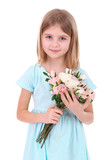 Beautiful little girl holding bouquet isolated on white