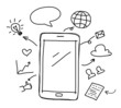 Leinwanddruck Bild - hand drawing smart phone with social media concept