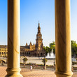 Spanish Square (Plaza de España) in Sevilla at sunset, Spain