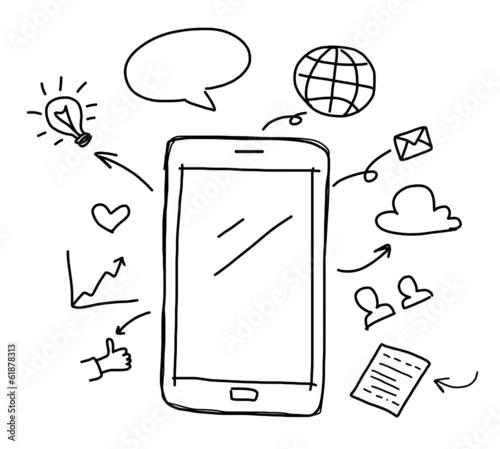 Leinwanddruck Bild hand drawing smart phone with social media concept