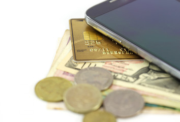 smartphone money credit card payment concept