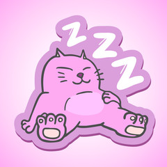 Sleep pink cat