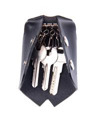 Black leather key case isolated on white