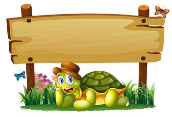 A smiling turtle below the empty wooden board