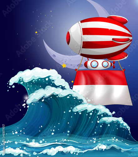 A floating balloon with the flag of Monaco