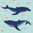 Two whales silhouettes. Marine life illustration