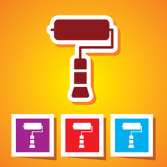 Editable Colourful Vector Icon of Paint Roller Eps 10