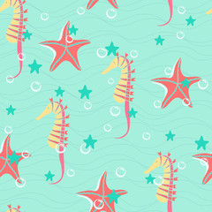 Colorful seahorses and starfishes seamless vector background