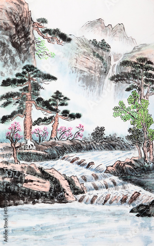 traditional Chinese painting , landscape - 61879906