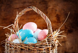 Easter Eggs Painted Pink, Blue in the Basket