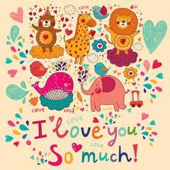 Vector cartoon love card with cute animals