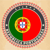 Vintage label cards of  Portugal flag