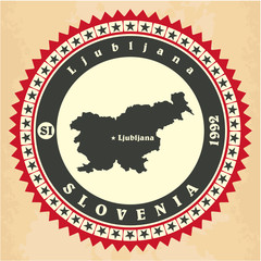 Vintage label-sticker cards of Slovenia