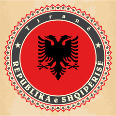Vintage label cards of  Albania flag.