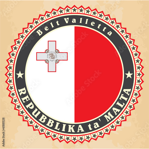 Vintage label cards of  Malta flag.
