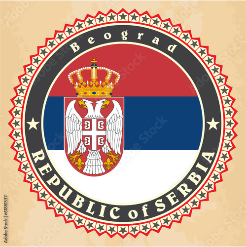 Vintage label cards of  Serbia flag