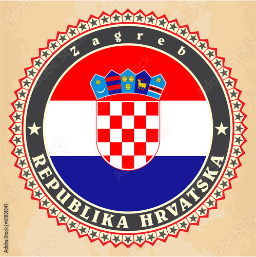 Vintage label cards of  Croatia flag