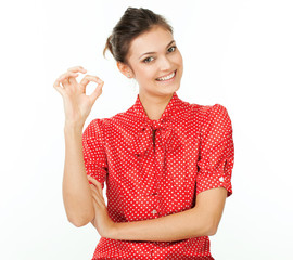 Perfect - business woman showing OK hand sign.