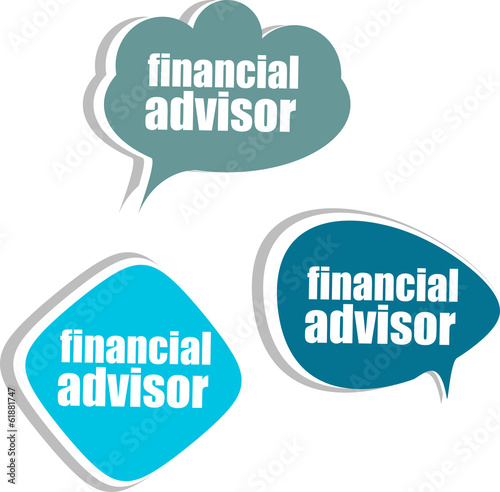 financial advisor. Set of stickers, labels, tags. infographics