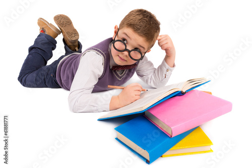 Boy with books for an education