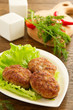 Large fried cutlets with  lettuce