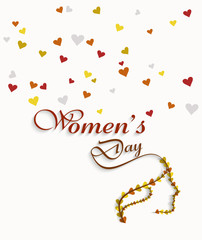 Women's day card element for heart colorful background vector