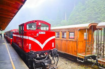 wooden railway station in Alishan national park,Taiwan