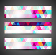 Beautiful mosaic colorful creative three header texture set vect