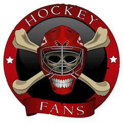 Vector illustration. Emblem scull of the hockey fans