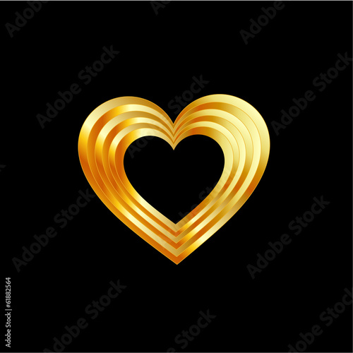Golden heart shaped ornament