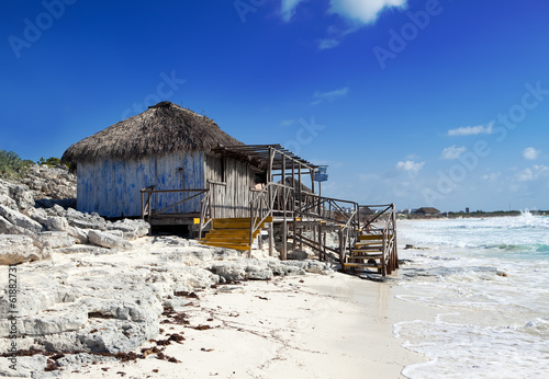 Wooden hut on the seashore. Cayo Largo's island,Cuba
