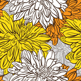 Vivid color seamless background with hand drawn flowers. Vector